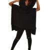 Boho Poncho Black Cotton